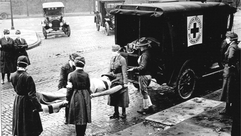 An ambulance in St Louis, Missouri, in 1918