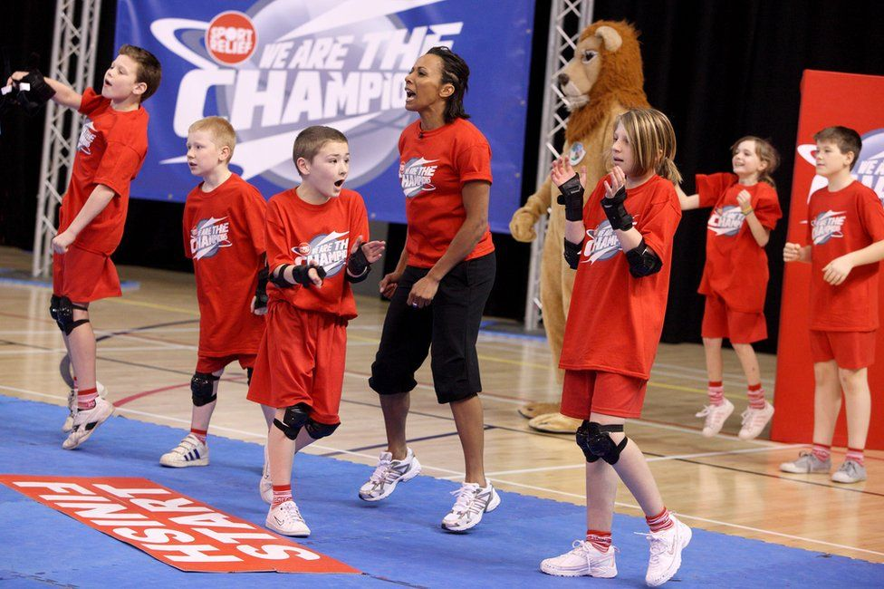 Dame Kelly Holmes in a Sport Relief event