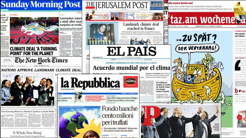Newspaper front pages reporting about the climate deal