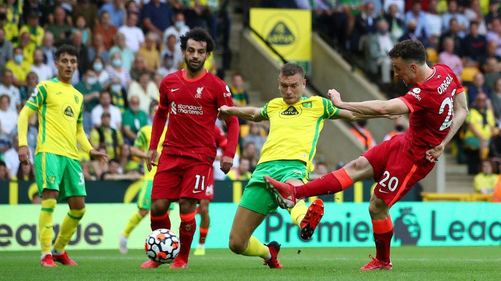 Diogo Jota scores for Liverpool against Norwich City
