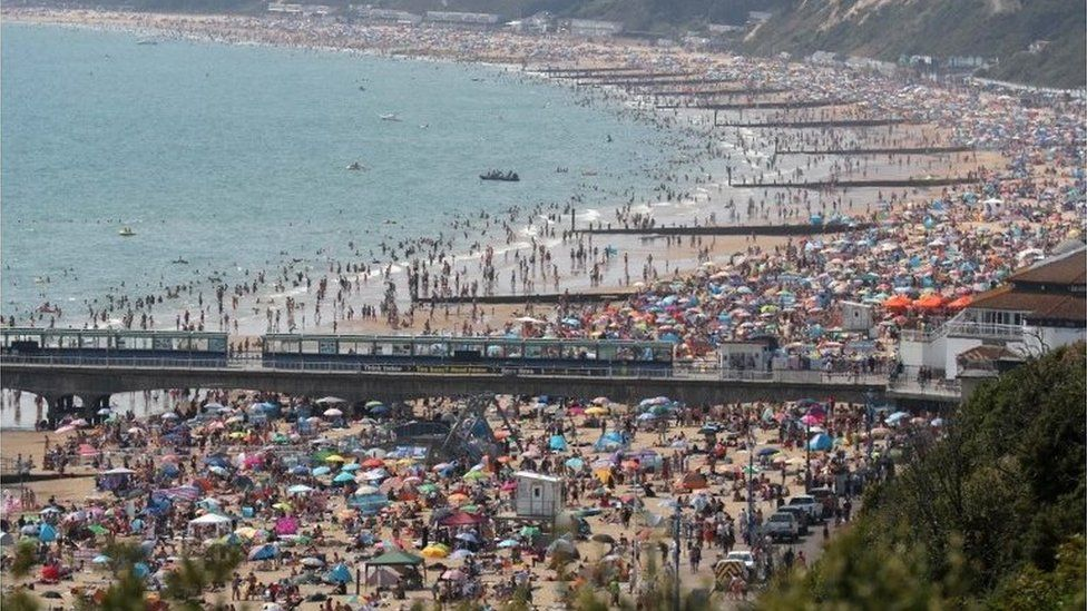 Crowds on Bournemouth beach on Friday 31 July 2020