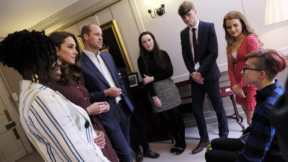 The Duke and Duchess of Cambridge with some of the teen heroes and Clara Amfo