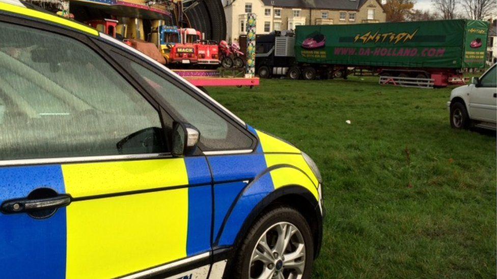 Police car near lorry on Midsummer Common