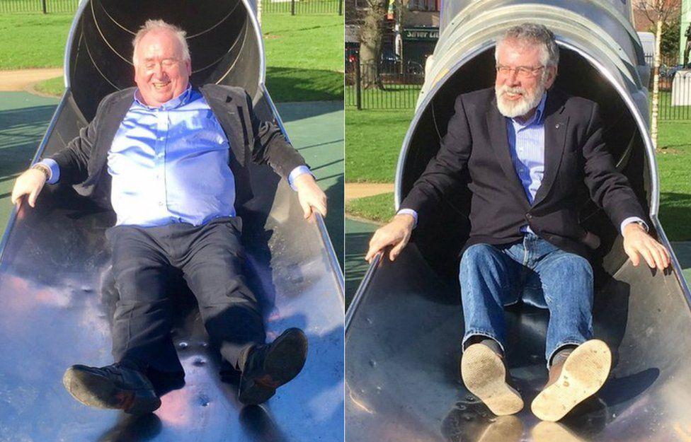 Fra McCann and Gerry Adams on a slide