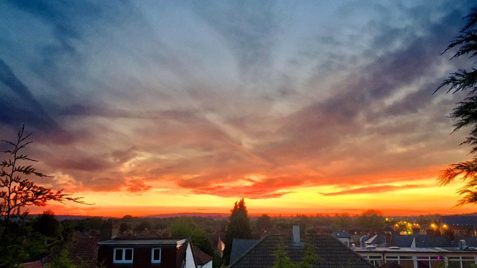Sunset from home in Cowley