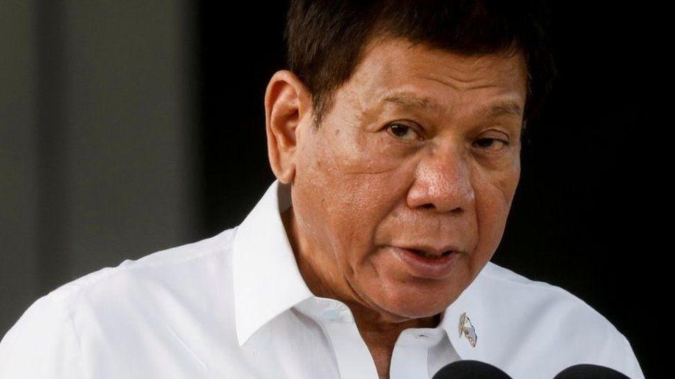 Philippine President Rodrigo Duterte speaks at Villamor Air Base