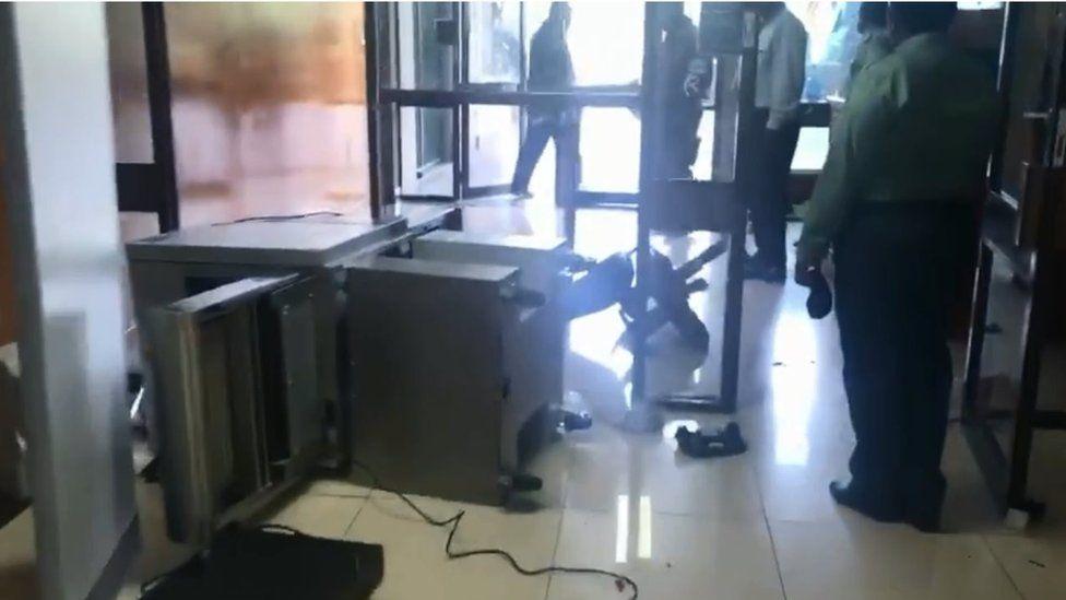 Smashed furniture inside office building