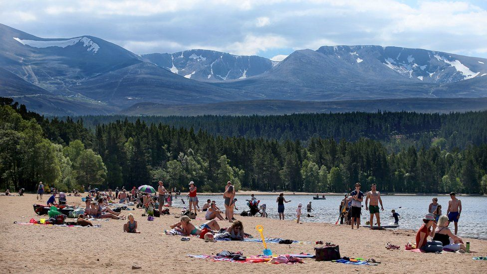 People on the beach in the Cairngorms