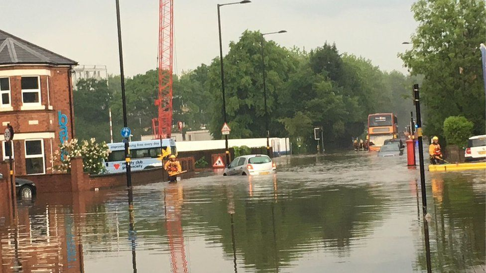 Flooded Pershore Road in Selly Oak