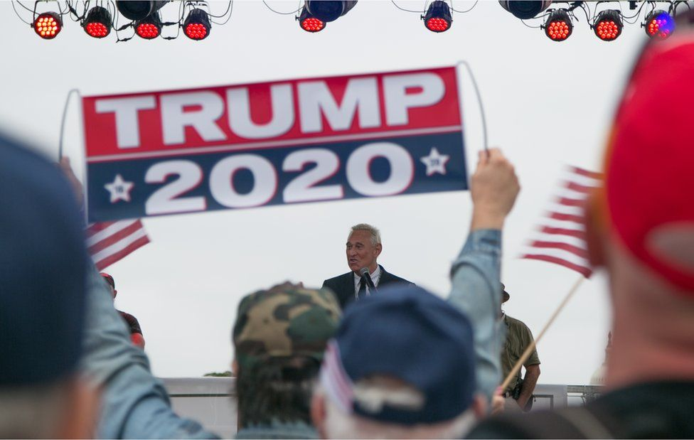 Roger Stone at a Trump rally