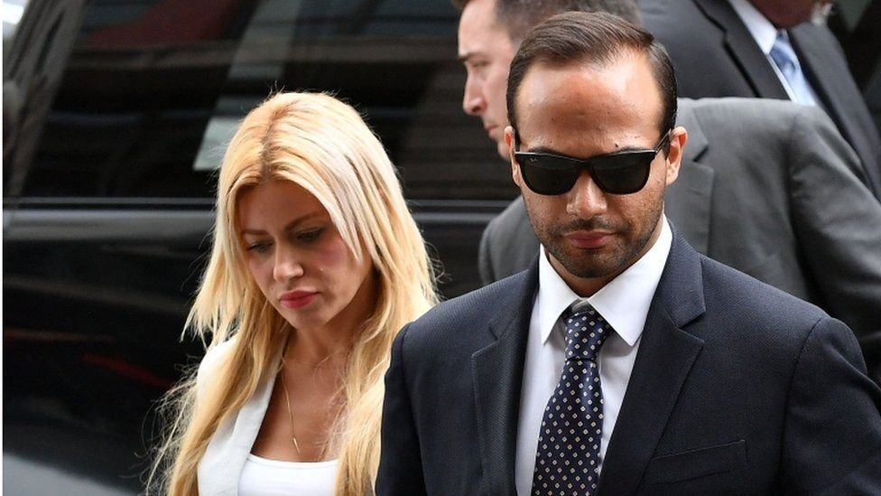 George Papadopoulos and his wife Simona Mangiante Papadopoulos arrive at US District Court for his sentencing