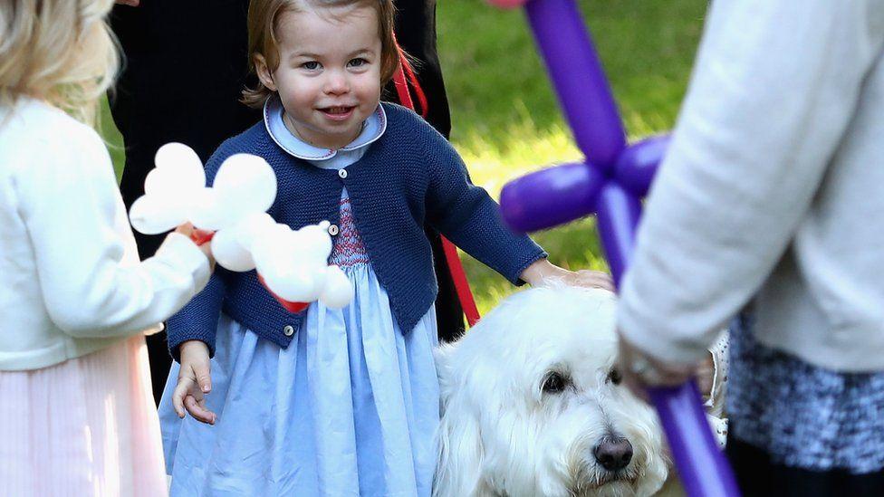 Princess Charlotte petting a dog