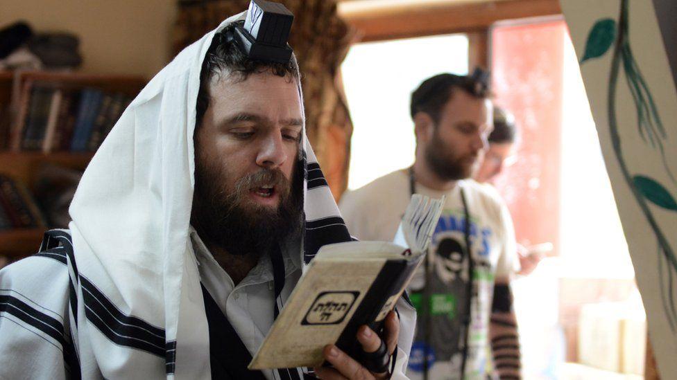 Jewish worshippers at prayer (file photo)