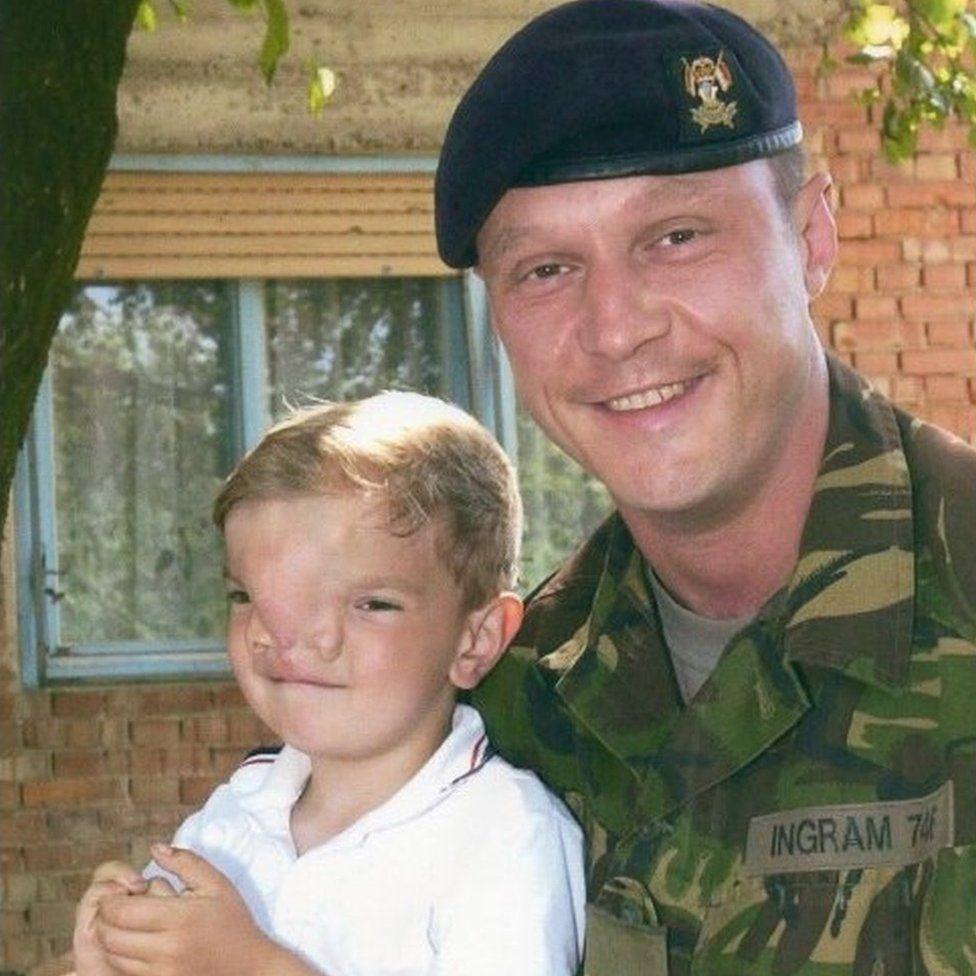 Wayne Ingram pictured with Stefan Savic as a boy