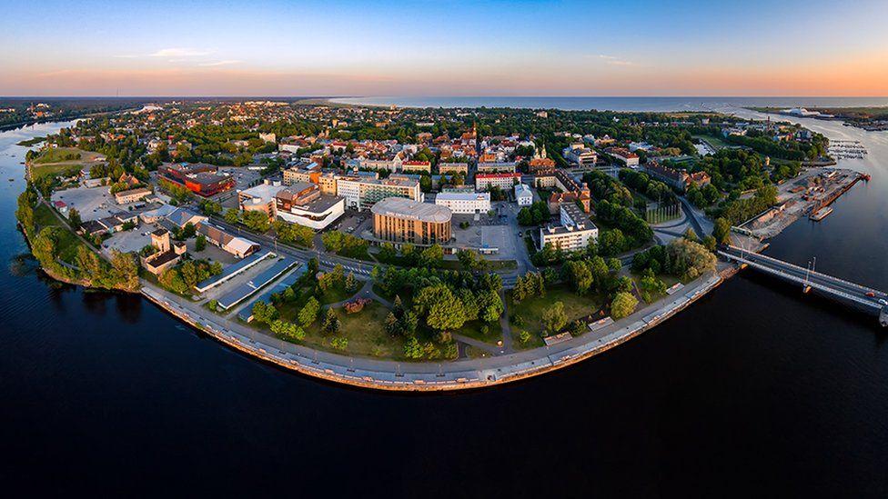 Aerial photo of Pärnu city in Estonia