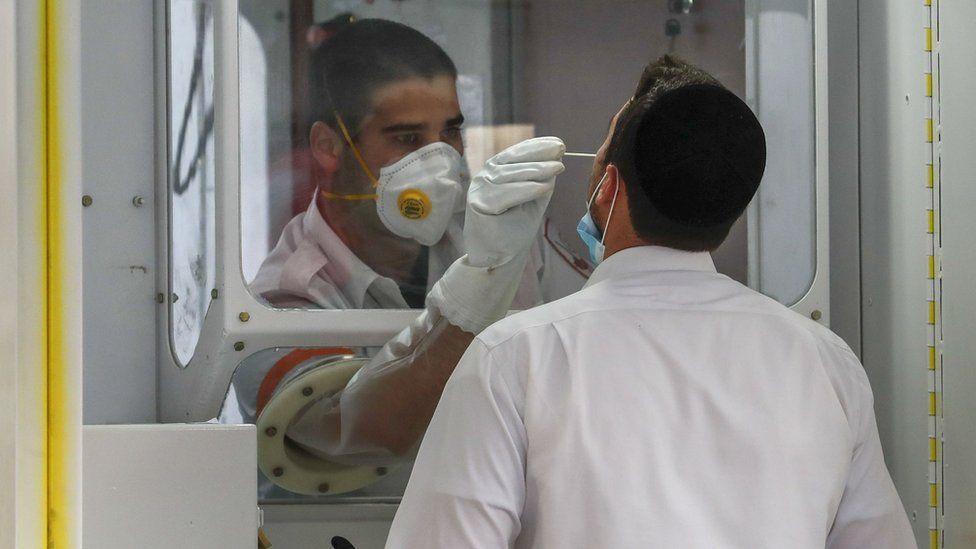 A Magen David Adom paramedic performs a test for Covid-19 on a man at a mobile testing station in Guela, Jerusalem (20 April 2020)
