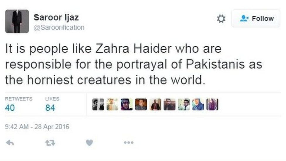 Tweet criticising Zahra