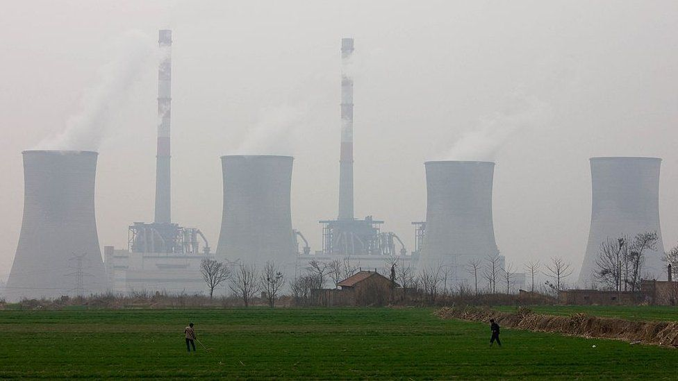 West Power Station, burning coal to make electricity, Xian, China.