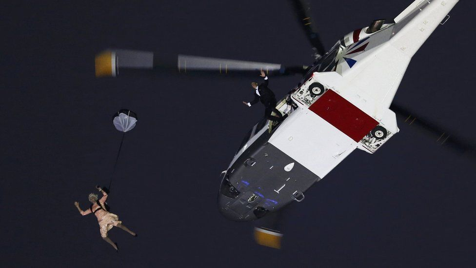 Iconic moment an actor playing the Queen skydived from a helicopter during London 2012 Olympics opening ceremony
