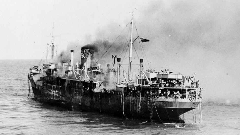 In September 1945 the S.S. Empire Patrol caught fire carrying 500 refugees home to Greece