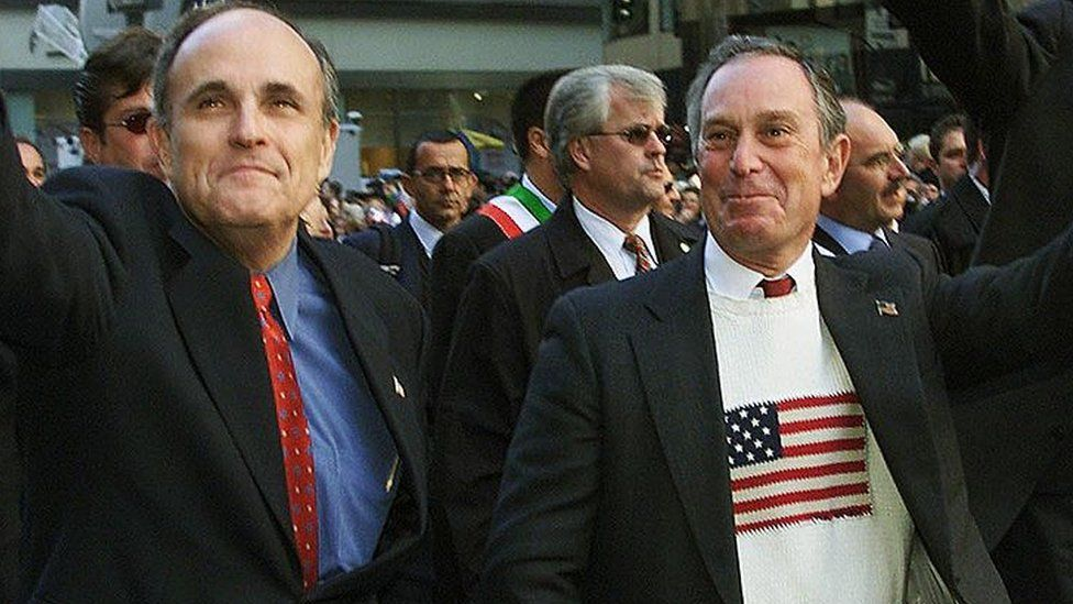 Bloomberg with his predecessor as mayor, Rudy Giuliani, in New York on 8 October, 2001.