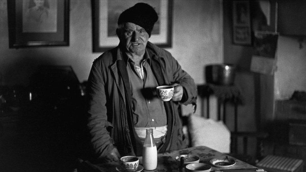Archie Parkhouse with a cup of tea in 1978