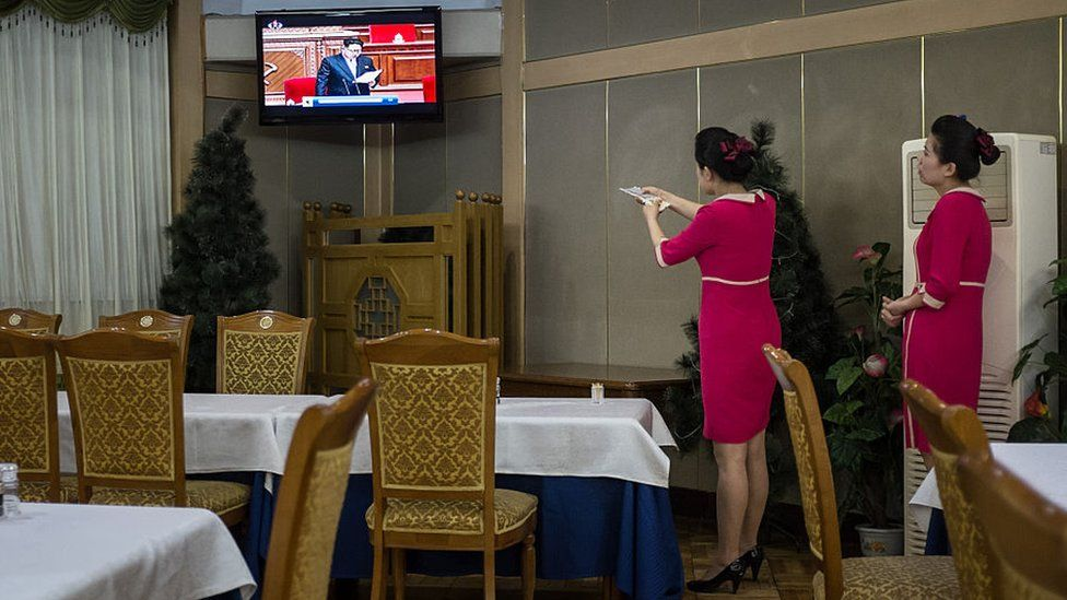 Kim Jong-Un on TV in North Korea restaurant