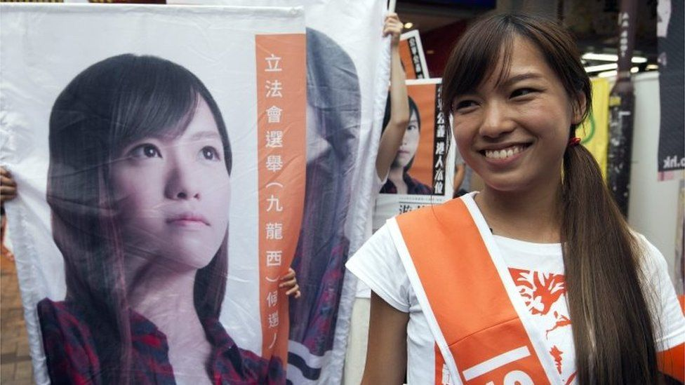 Yau Wai-ching of the Youngspiration political party canvasses for votes in the Kowloon West Geographical Constituency on voting day in the Hong Kong Legislative Council elections 2016,