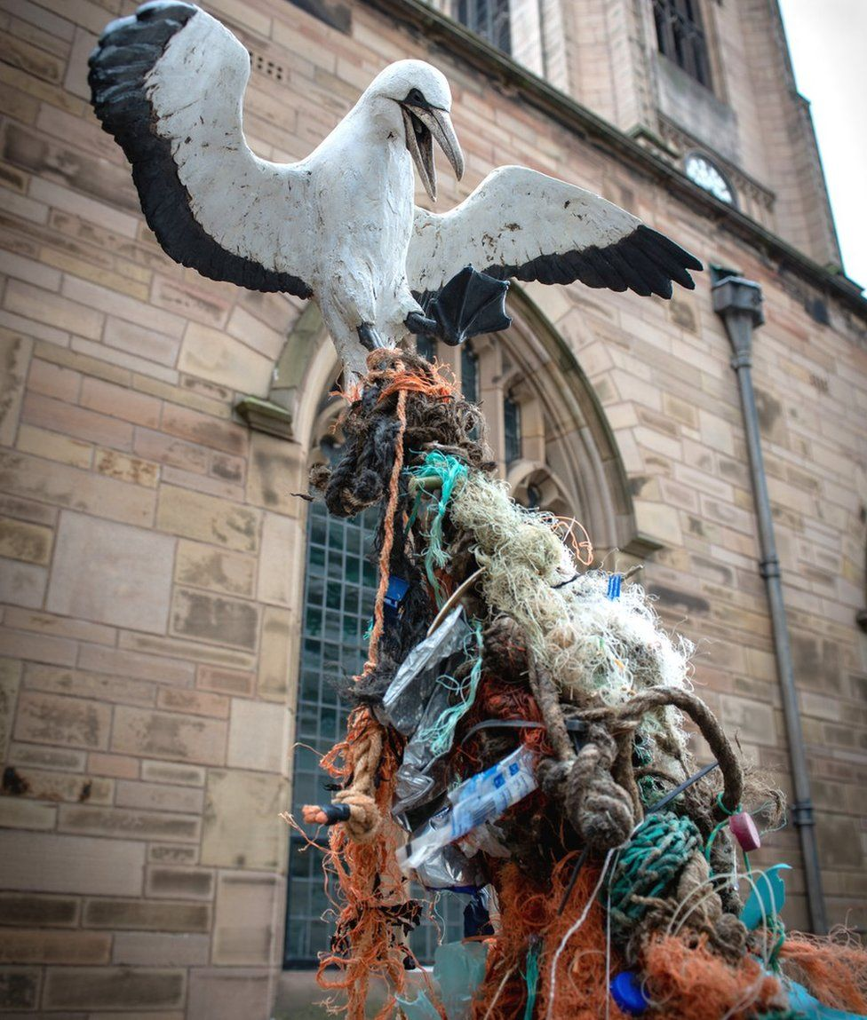 Liverpool Plinth Sculpture Highlights Shocking Sea Pollution Bbc News