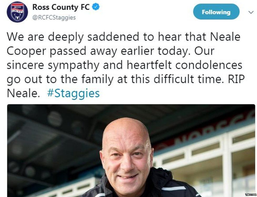 A tweet by Ross County Football Club