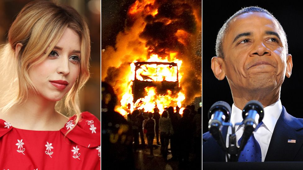 Peaches Geldof, a bus burning during the London riots, and Barack Obama