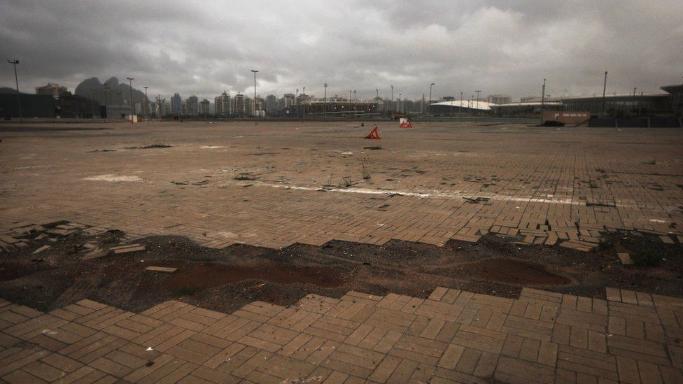 A general view of damaged flooring in the Olympic Park on 18 March 2017