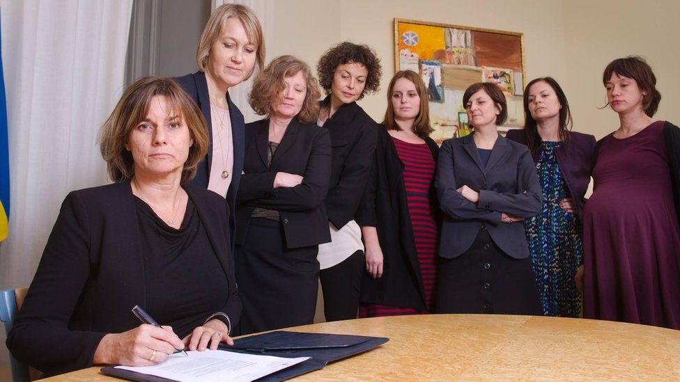 Sweden's climate minister Isabella Lovin in a photo posted on Facebook of her signing the country's new climate law, 3 February 2017