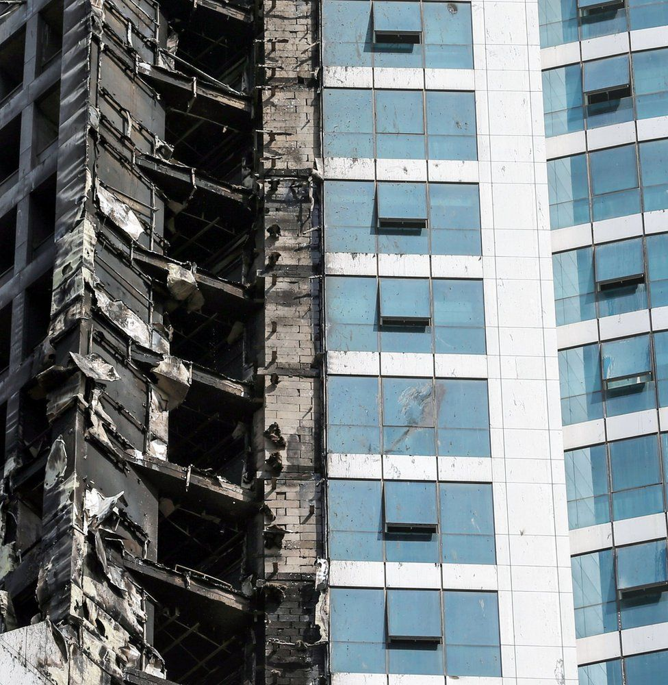The aftermath of a fire at the Torch Tower in Dubai