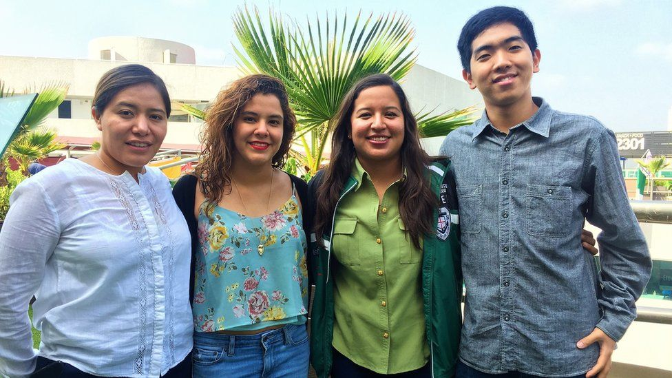 A photo by the University of Monterrey showing the four students