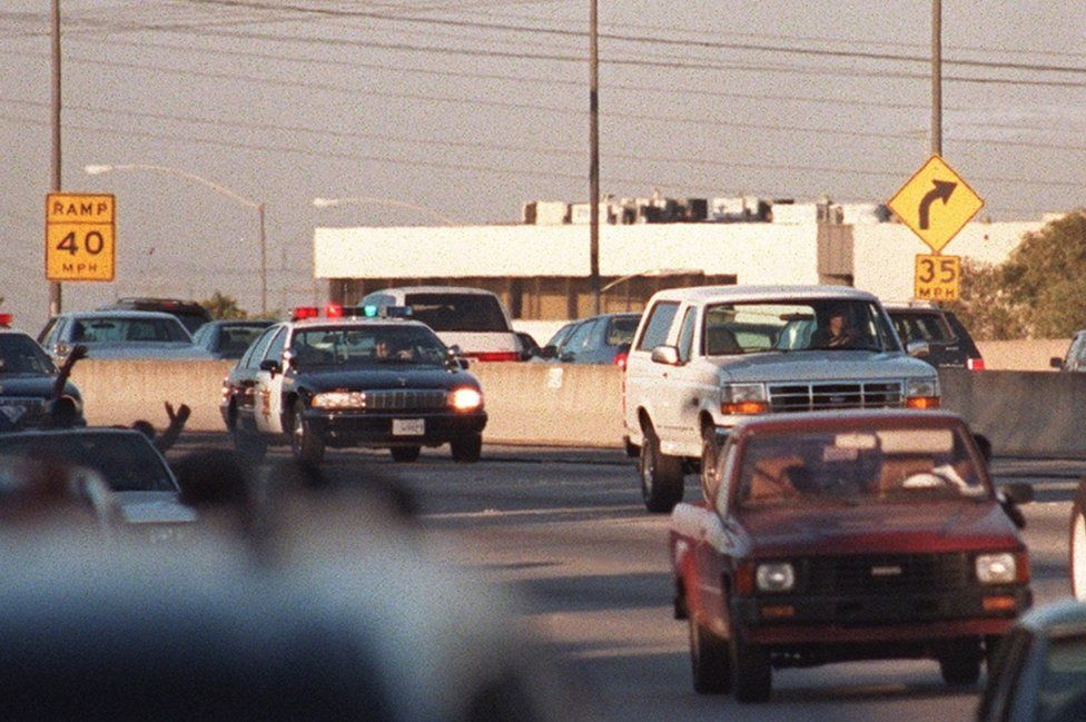 OJ's police car chase was broadcast across the US