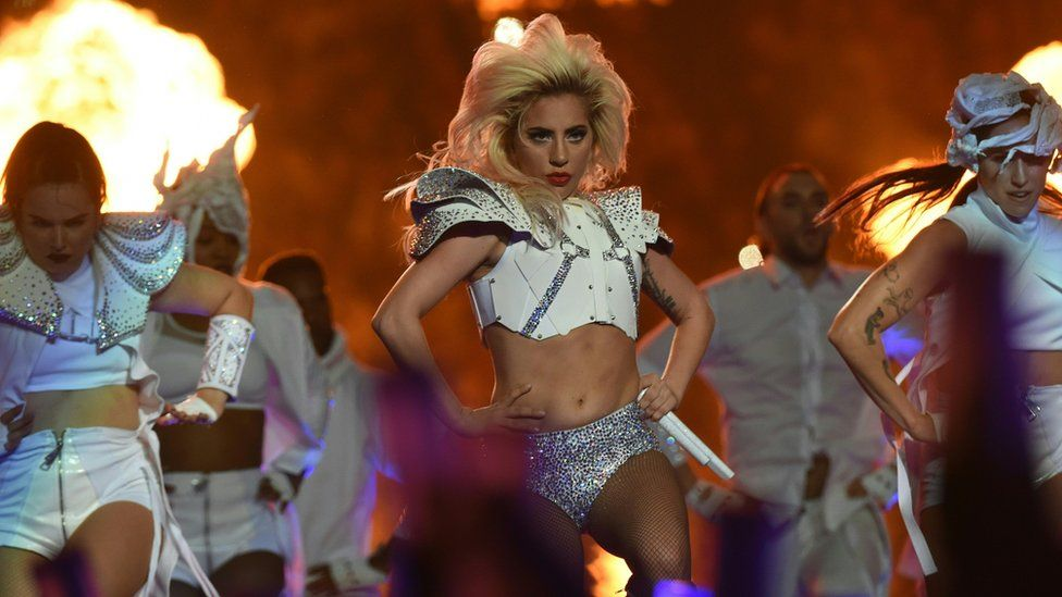 Lady Gaga performing the Super Bowl half time show