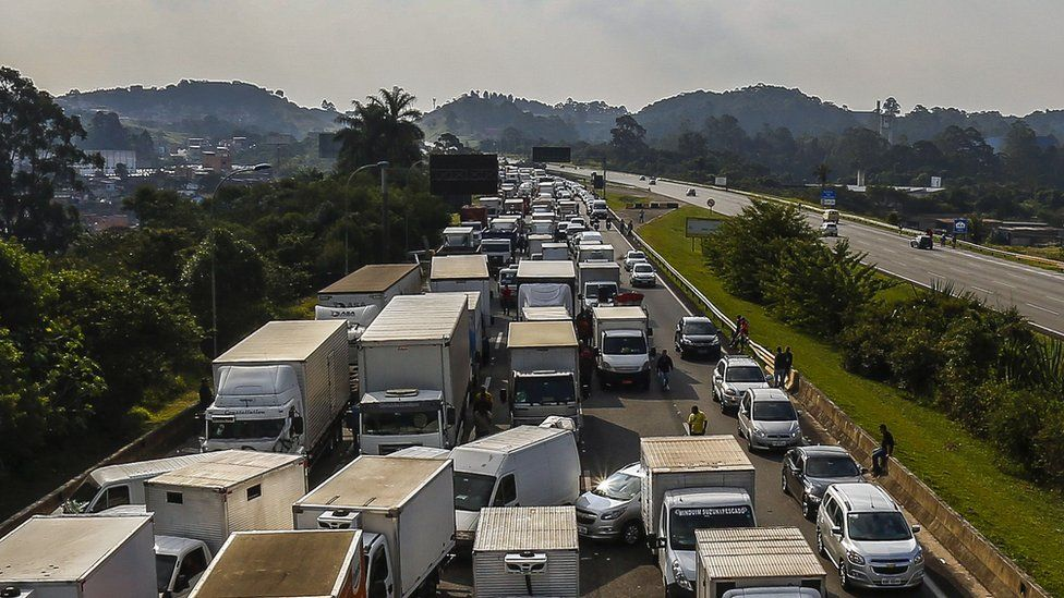 Truckers block a highway near Sao Paulo