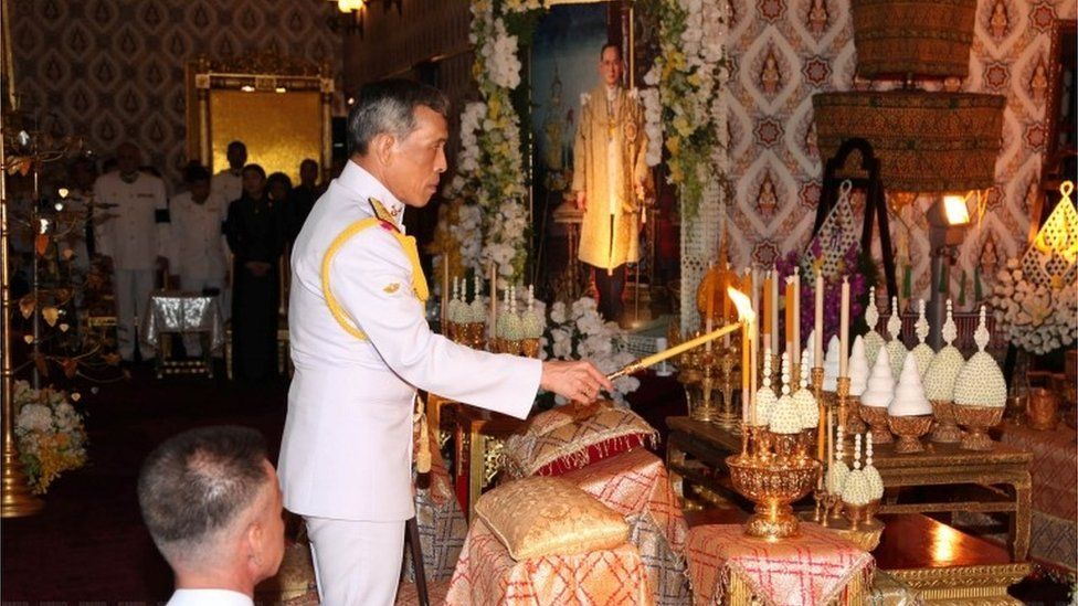 Crown Prince Vajiralongkorn at a ceremony to mourn his father at the Grand Palace, 15 October, 2016