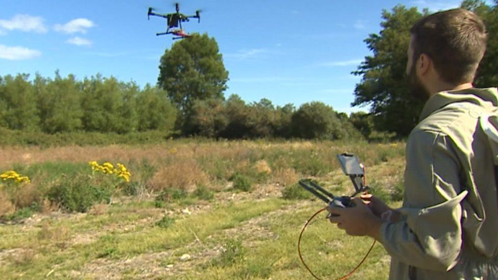 Drone in flight watched and controlled by Jake Shearwood in a field