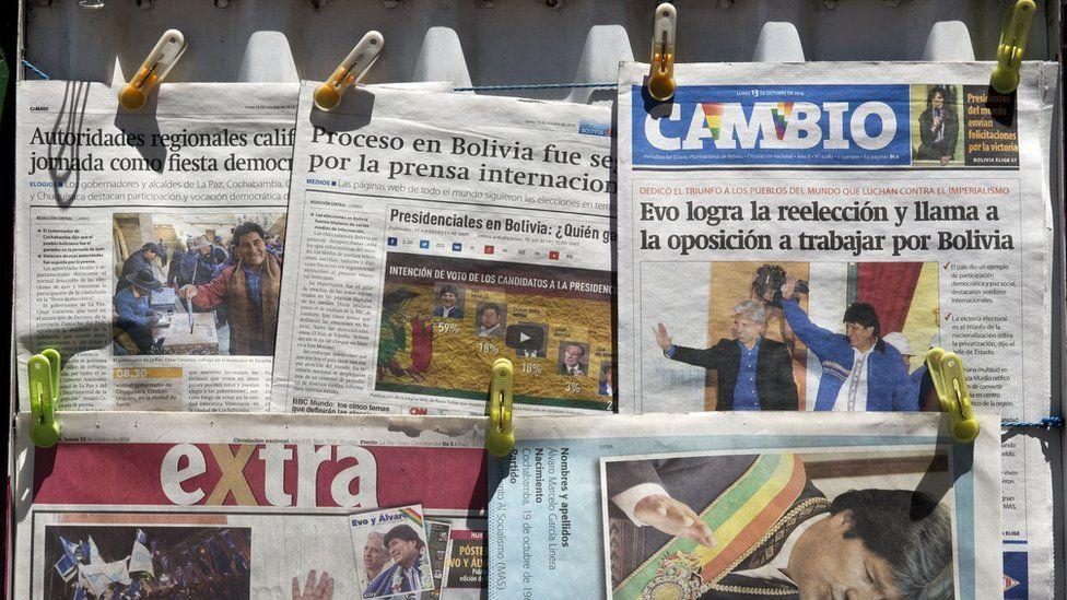 Newspaper stand in Bolivia