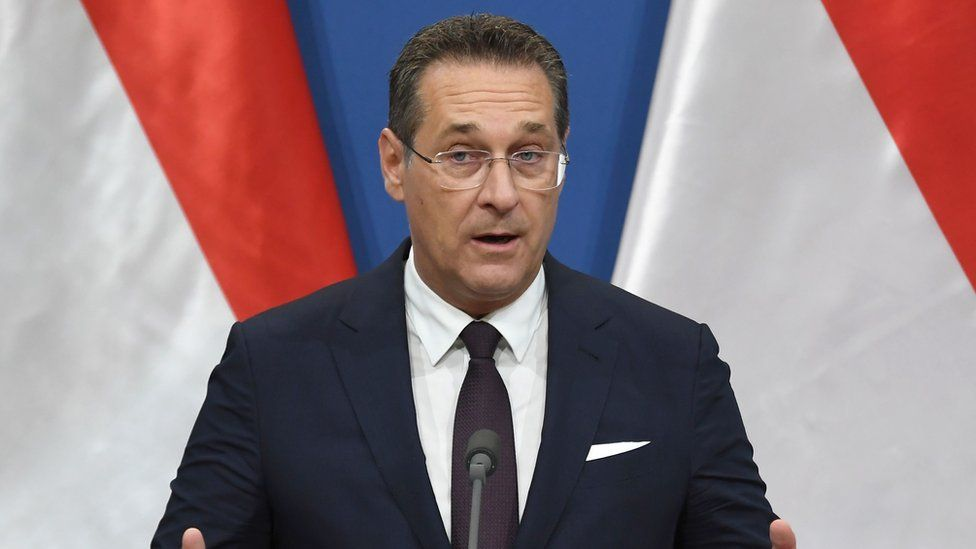 """Austria""""s Vice-Chancellor and chairman of the Freedom Party FPOe Heinz-Christian Strache at a pres conference"""