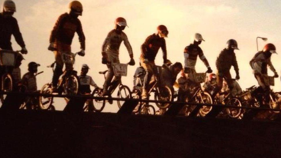 The gate at the BMX track at Lambeg in its heyday