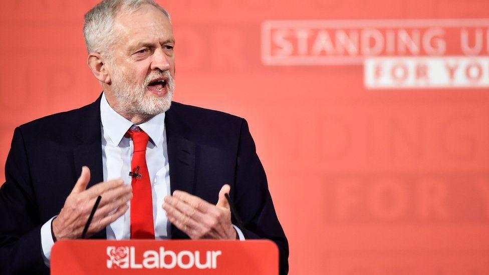 "Labour Party""s leader Jeremy Corbyn gives a speech"