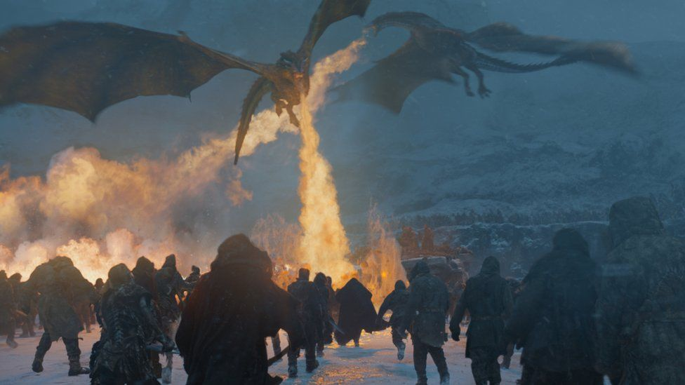 Dragons attacking White Walkers