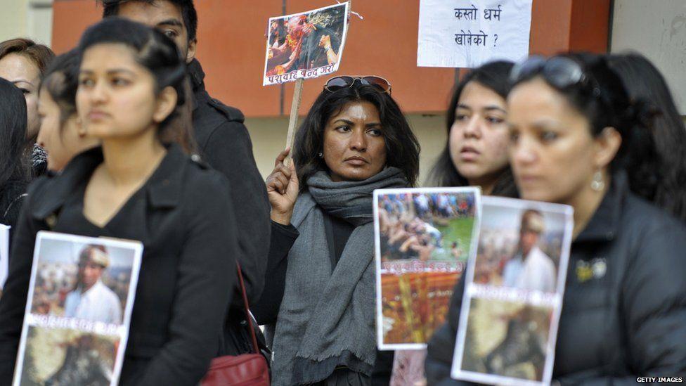 People protest against the festival in Kathmandu (December 2014)