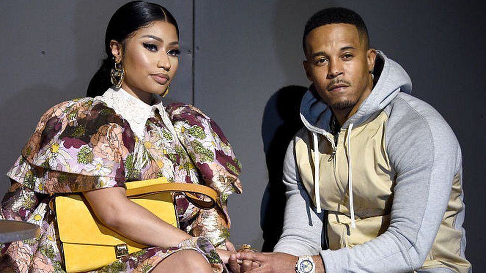 Nicki Minaj and Kenneth Petty attend the Marc Jacobs Fall 2020 runway show during New York Fashion Week on February 12, 2020