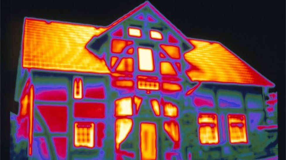 Thermogram of a house showing heat loss