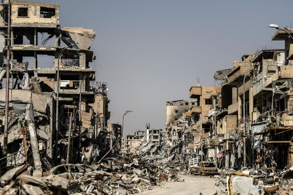 Heavily damaged buildings in Raqqa, pictured on 21 October 2017