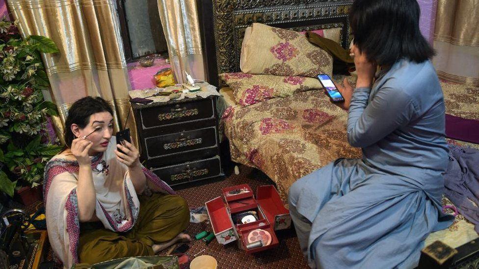Getting ready at Naina's house